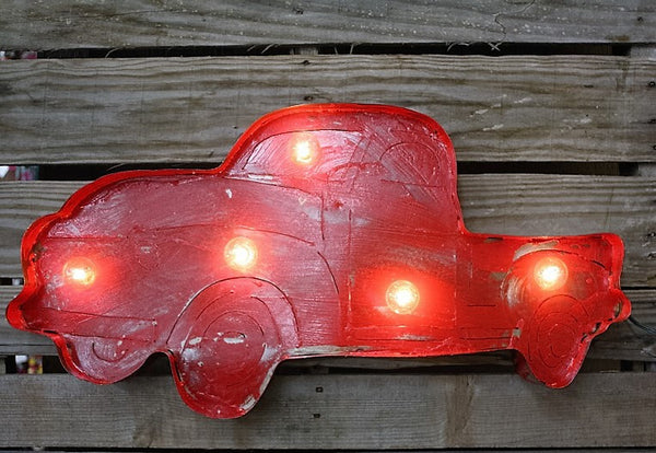 Lighted Rustic Handmade Junk Truck in Red