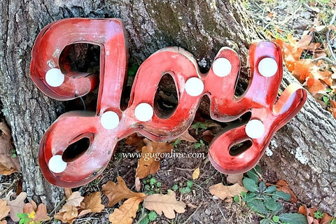 Lighted Rustic Handmade Red Joy Sign