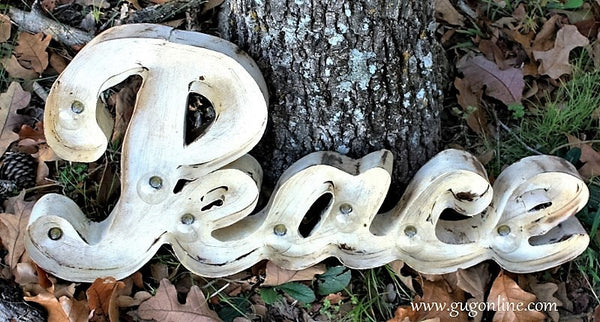 Lighted Rustic Handmade Ivory Peace Sign