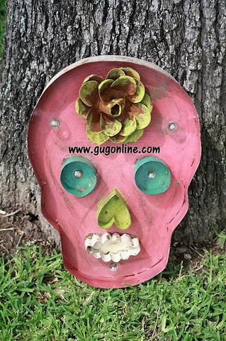Lighted Rustic Handmade Pink Sugar Skull
