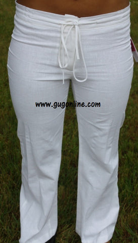 Linen On a Prayer Pants in White
