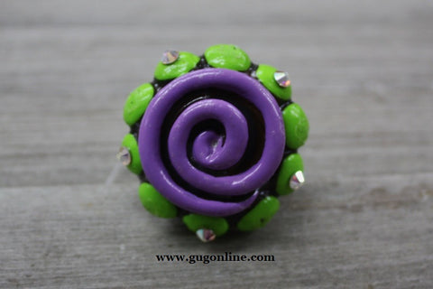 Little Senorita in Purple and Lime Green Clay Ring