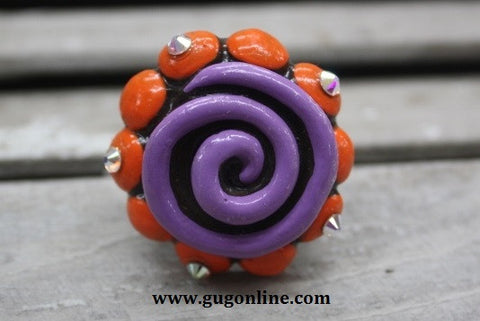 Little Senorita in Purple and Orange Clay Ring