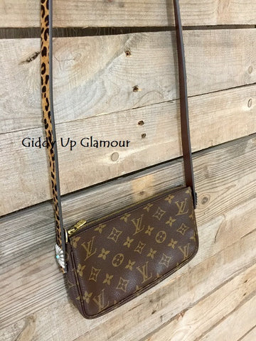 Authentic and Upcycled Pochette Cross Body With Leopard Strap