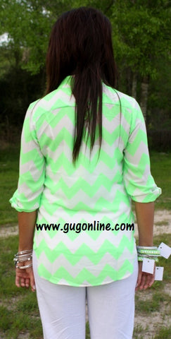 Love Is Enough Neon Green Chevron Top