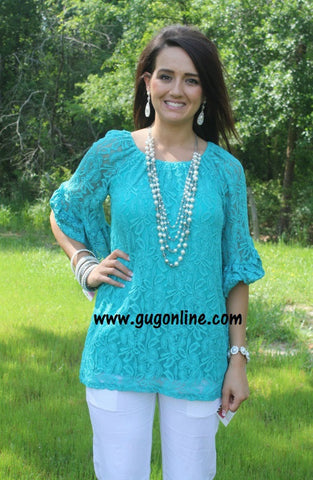 Love On Lace Tunic Top in Jade