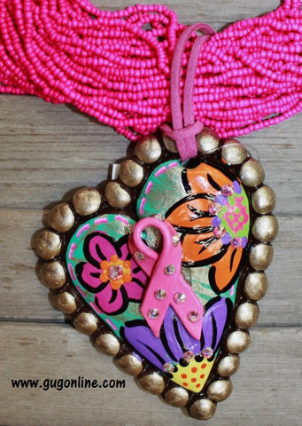Love and Support Breast Cancer Awareness Pendant in Bronze and Floral