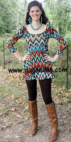 Lovely Day Brown and Turquoise Zig Zag Dress
