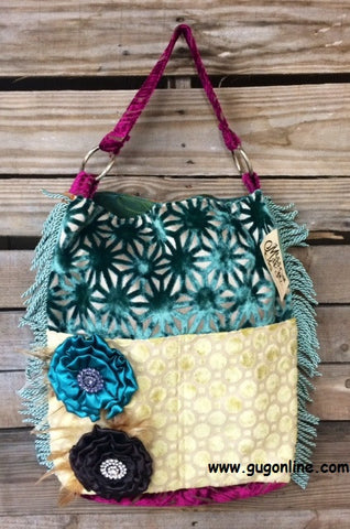 2 Pocket Front Fancy Bag with Pretty Double Flowers
