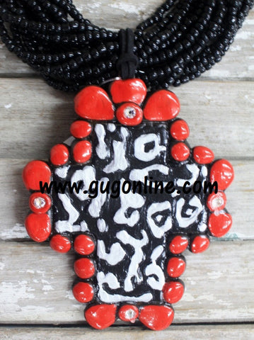 Madrid Cross in Red and Black Cheetah