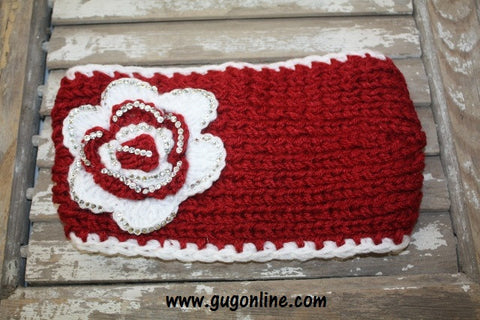 Maroon and White Crystallized Headwrap