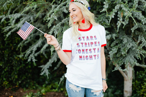 Stars Stripes Lonestar Nights Short Sleeve Tee Shirt