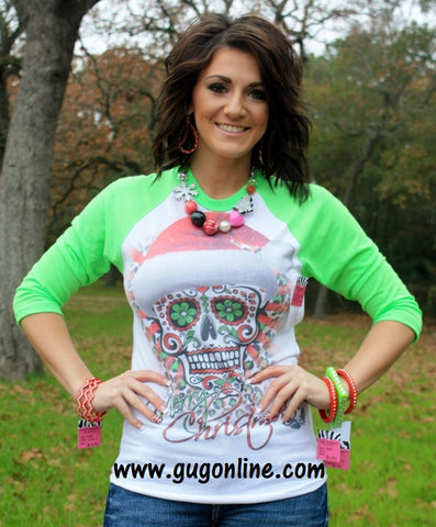 Merry Christmas Sugar Skull Neon Green Baseball Tee