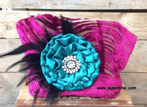 Cute Fuchsia Cosmetic Bag with Fancy Flower