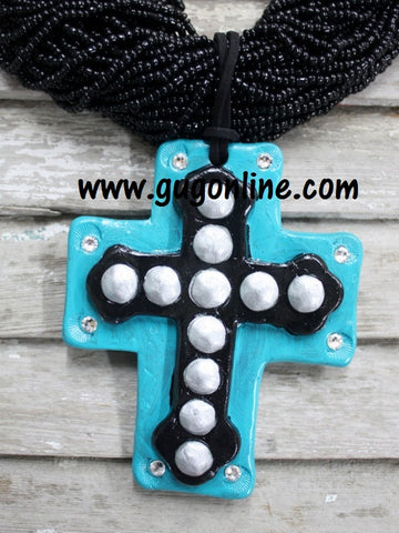 Mission Aqua and Black Pendant