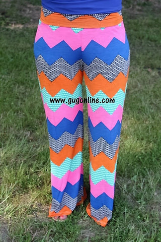Move to the Beat Royal Blue and Orange Chevron Pants