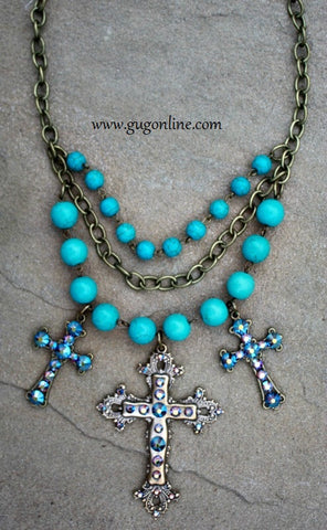 Pink Panache Turquoise Necklace with Three Bronze Crosses Covered in ST Crystals