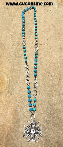 Silver Chopper Cross with Clear Crystals on Turquoise and Silver Chain Necklace