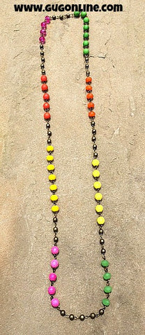 Long Lime, Pink, Orange and Yellow Beaded Necklace