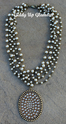 Pink Panache 5 Strand Champagne Pearl Necklace with Large Bronze Oval with Topaz Crystals