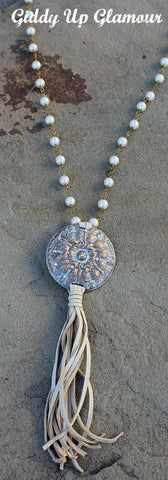 Long Pearl Necklace with Bronze and AB Crystal Round Concho and Tassel