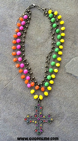 Pink Panache Four Strand Multi Colored and Bronze Necklace with Cross