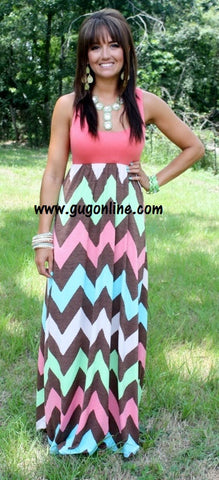 Chevron And On Brown and Coral Chevron Maxi Dress