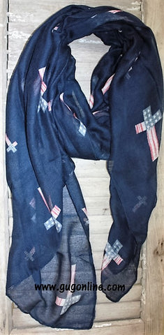 Navy Scarf with American Flag Crosses