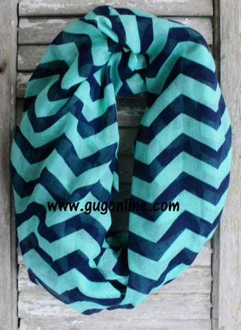 Navy and Mint Chevron Infinity Scarf