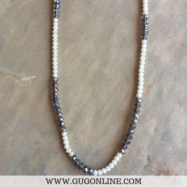 Grey and Ivory Long Strand Necklace | ONLY 1 LEFT