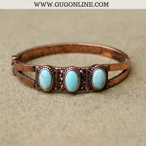 Three Turquoise Stone and Copper Spring Closure Bracelet