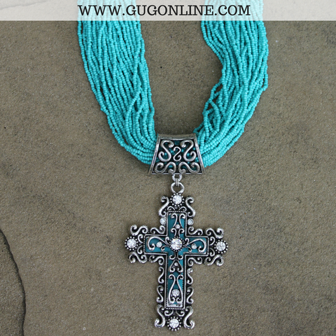 Turquoise Beaded Necklace with Fancy Crystal Cross