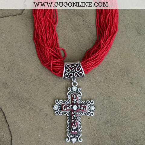 Red Beaded Necklace with Fancy Crystal Cross