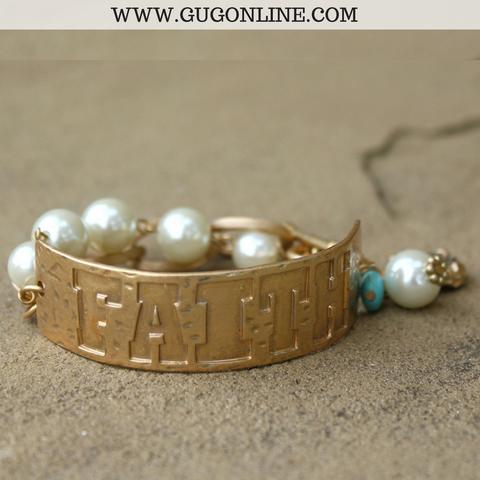 Faith Chain Bracelet with Pearl Charms
