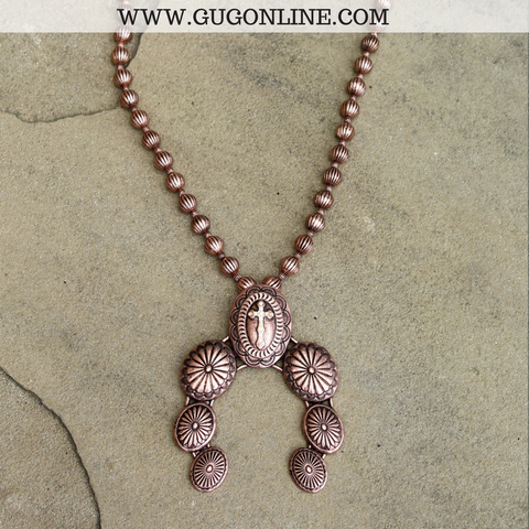 Long Copper Necklace with Squash Blossom