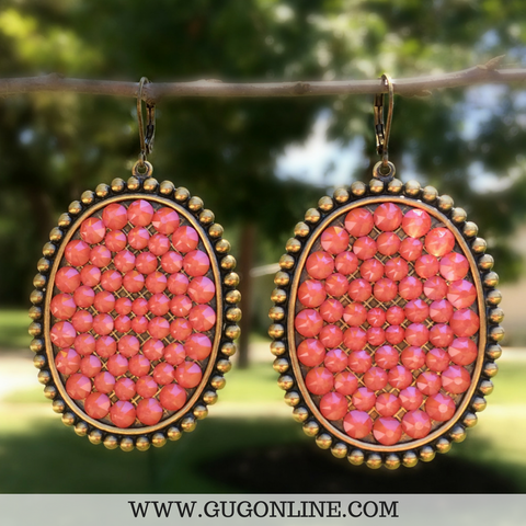 Pink Panache Bronze Oval Earrings with Candy Coral Crystals