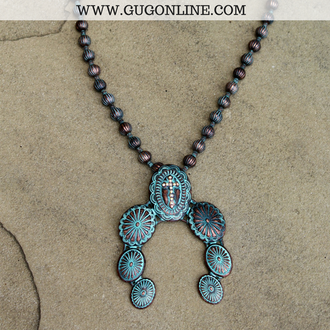 Long Patina Necklace with Squash Blossom