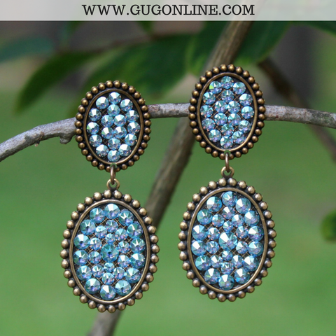 Pink Panache Bronze Mini and Small Oval Dangle Earrings with Aqua Crystals