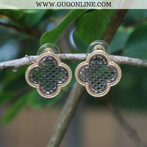 Gold and Silver Quatrefoil Stud Earrings