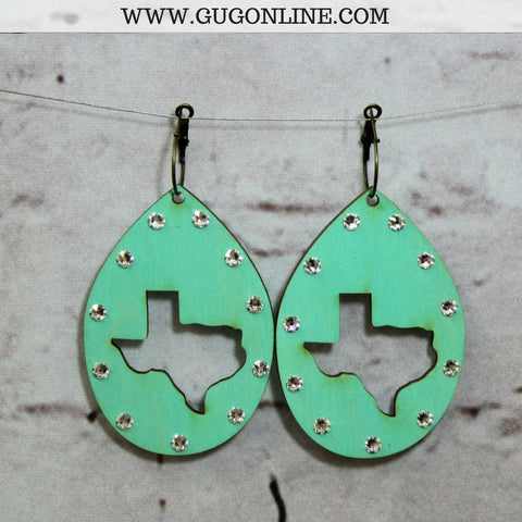 Pink Panache Texas Cut Out Teardrop Earrings in Turquoise
