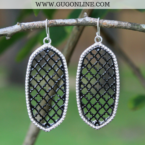 Silver and Gunmetal Oval Earrings with Quatrefoil Design