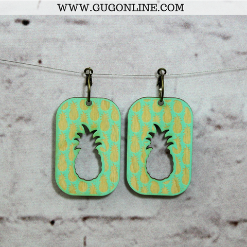 Pink Panache Square Pineapple Cut Out Earrings in Mint
