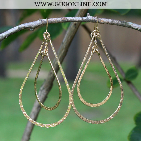 Hammered Gold Double Teardrop Earrings