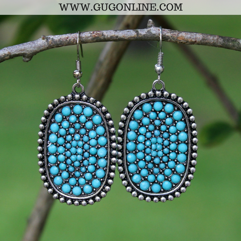 Silver Oval Earrings with Turquoise Crystal Stones