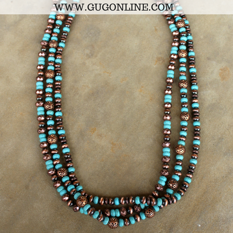 Long Three Strand Copper and Turquoise Necklace