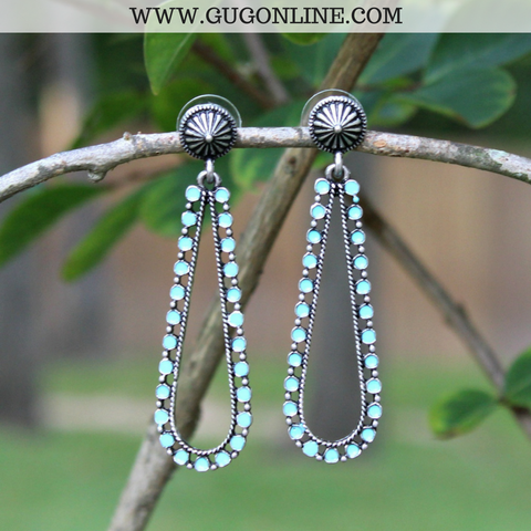 Silver Stud and Turquoise Teardrop Earrings