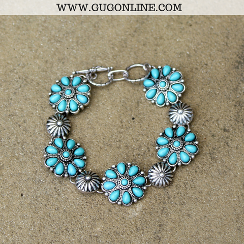 Turquoise Stone Flower and Silver Bracelet