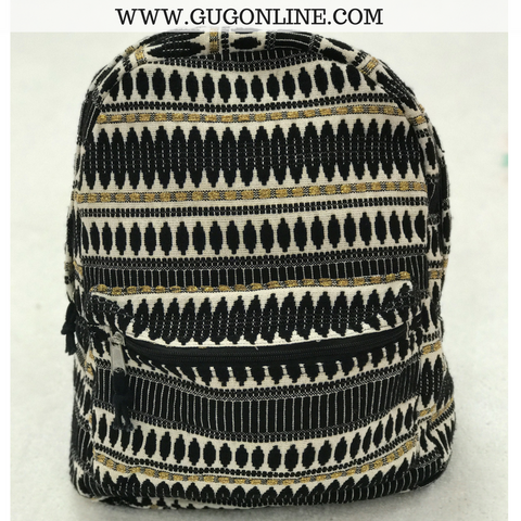 The Veronica Backpack - Black and Gold Aztec