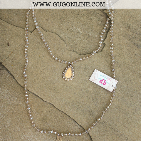 Pink Panache Long Champagne Crystal Necklace with Bronze Crystal Teardrop