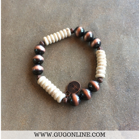 Copper and Ivory Beaded Stretch Bracelet